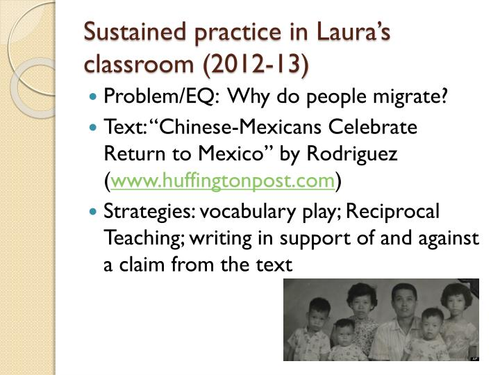 Sustained practice in Laura's classroom (2012-13)