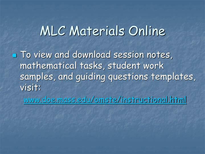 MLC Materials Online