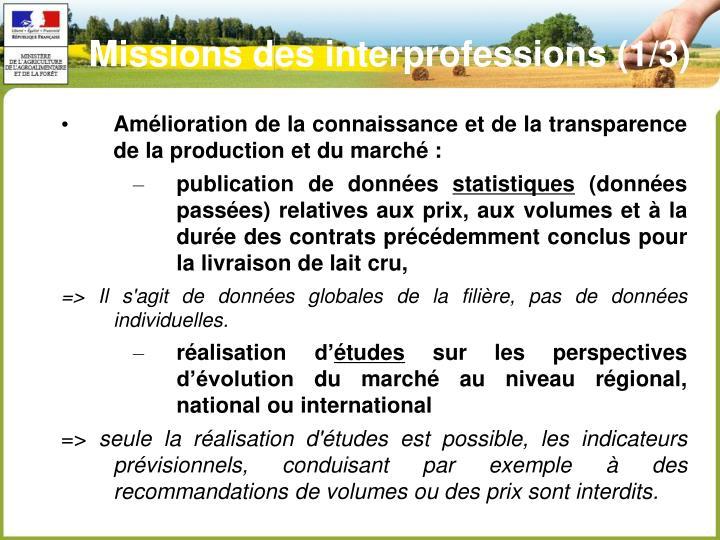 Missions des interprofessions (1/3)