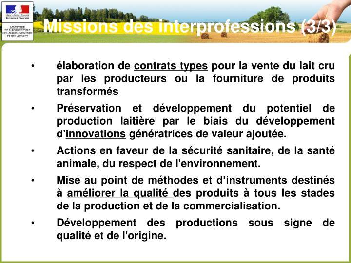Missions des interprofessions (3/3)