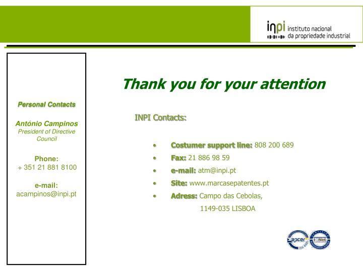 INPI Contacts: