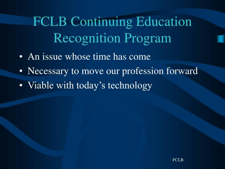 FCLB Continuing Education Recognition Program