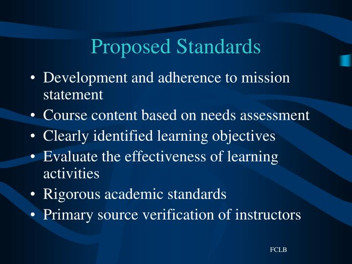 Proposed Standards