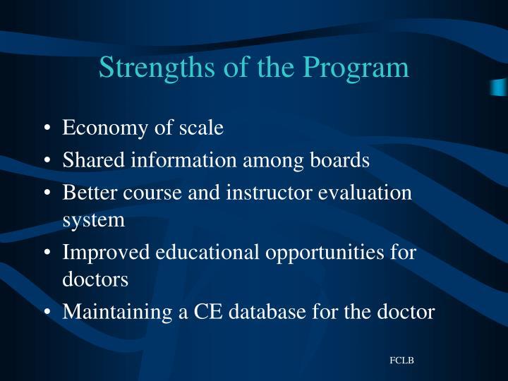 Strengths of the Program