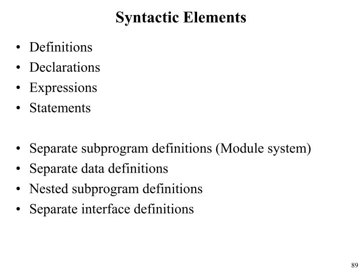Syntactic Elements
