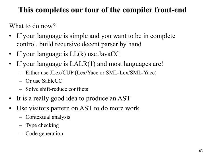 This completes our tour of the compiler front-end