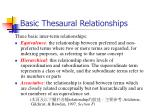 basic thesaural relationships