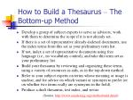 how to build a thesaurus the bottom up method