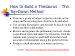 how to build a thesaurus the top down method