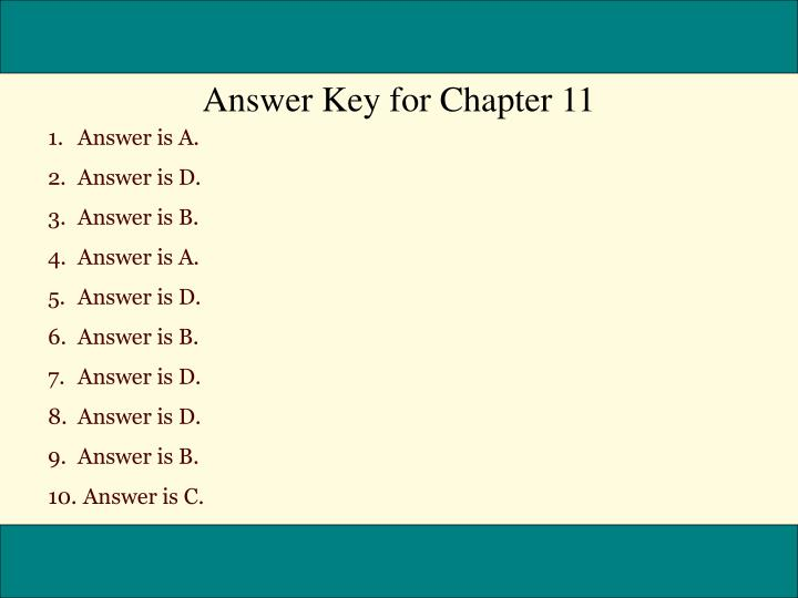 Answer Key for Chapter 11