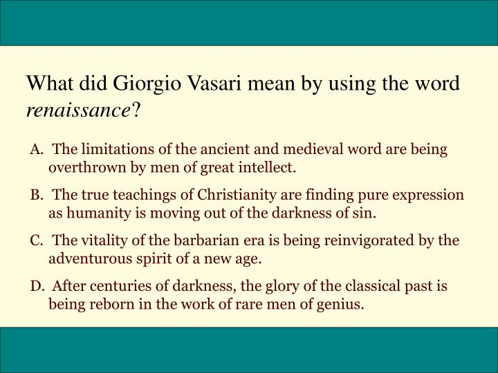 What did Giorgio Vasari mean by using the word