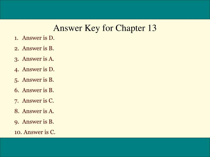 Answer Key for Chapter 13