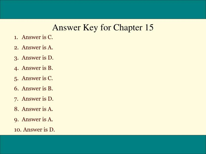Answer Key for Chapter 15