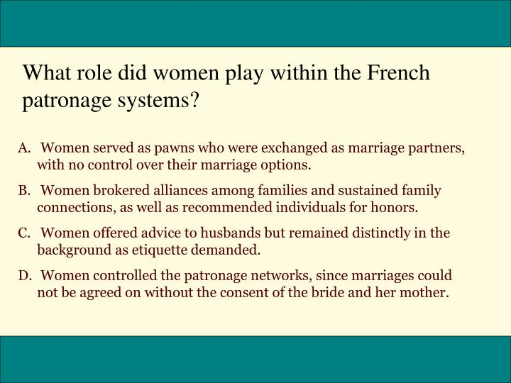 What role did women play within the French patronage systems?