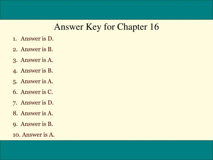 Answer Key for Chapter 16
