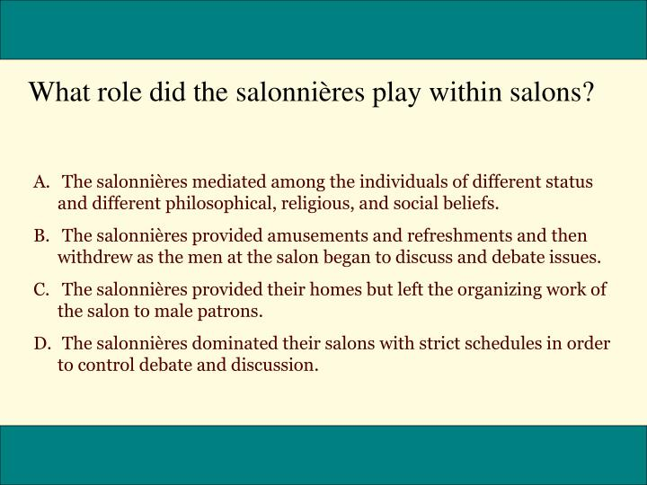 What role did the salonnières play within salons?