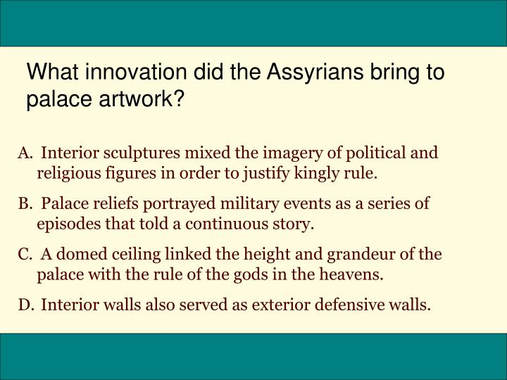 What innovation did the Assyrians bring to palace artwork?