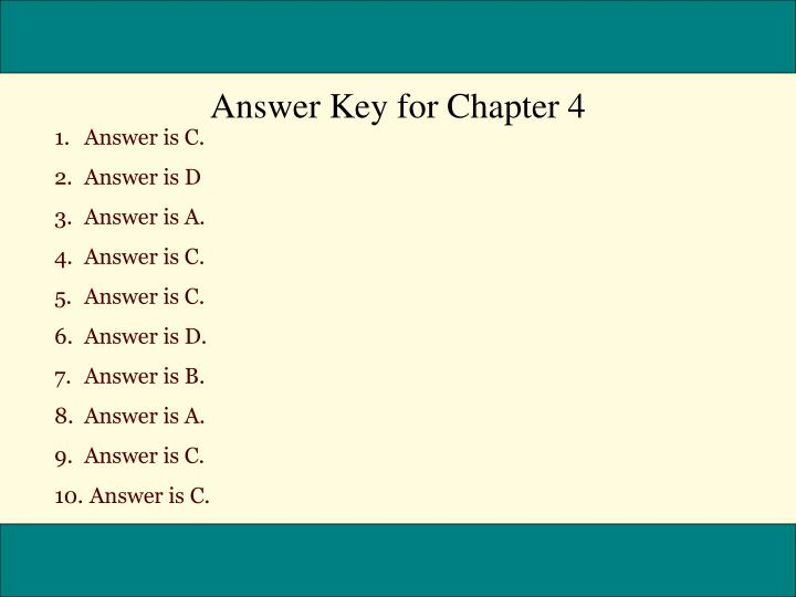Answer Key for Chapter 4