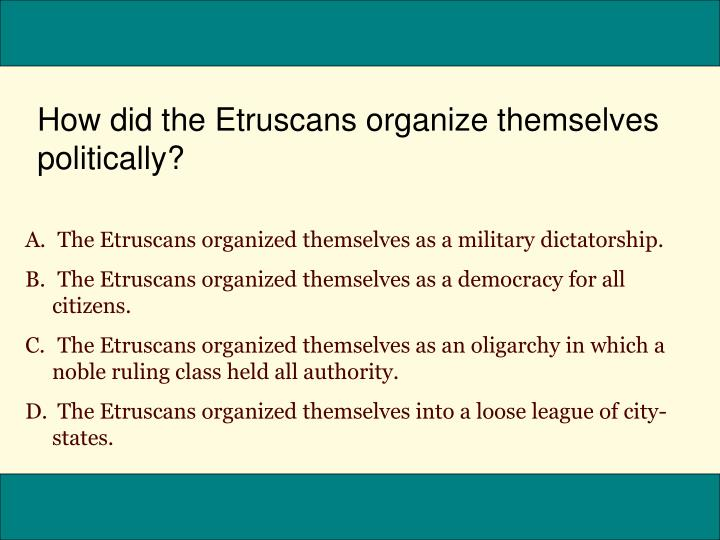 How did the Etruscans organize themselves politically?