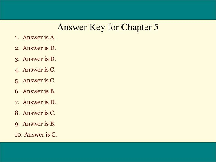 Answer Key for Chapter 5