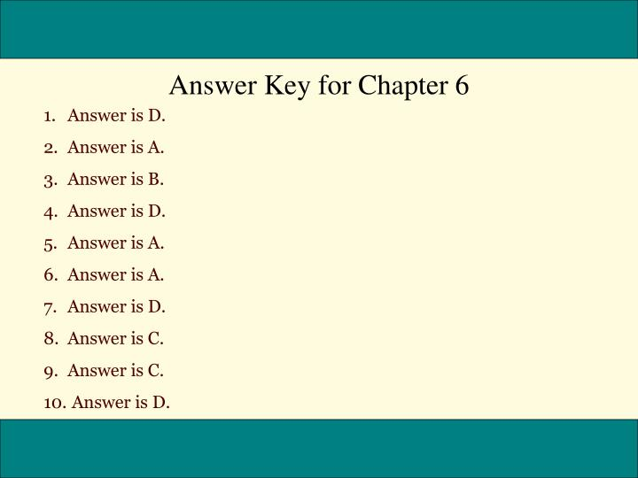 Answer Key for Chapter 6