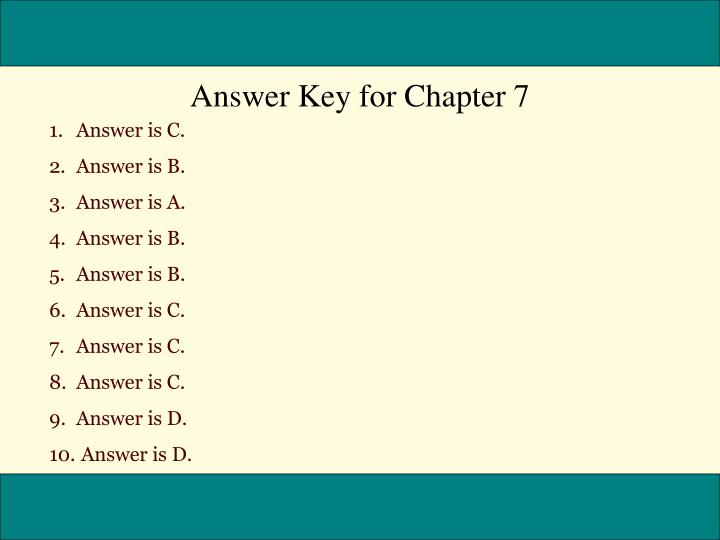 Answer Key for Chapter 7