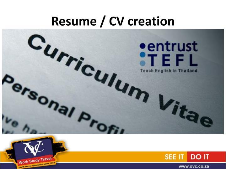 Resume / CV creation