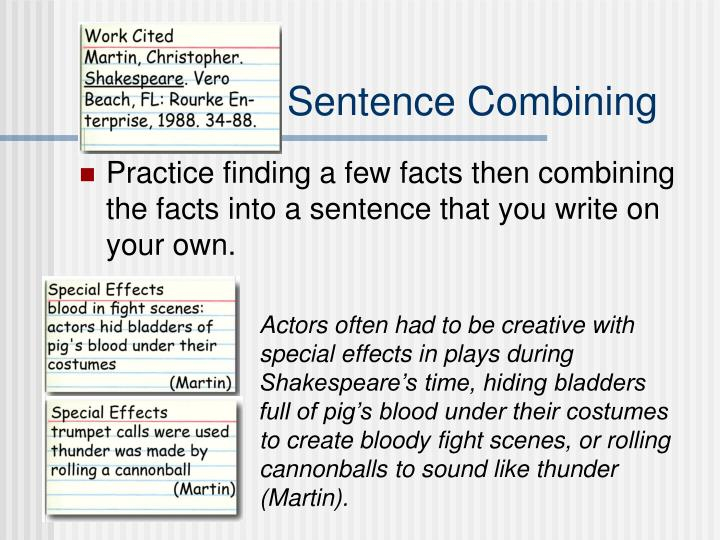 Example of Sentence Combining