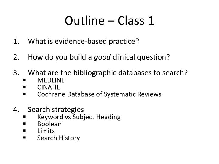Outline class 1