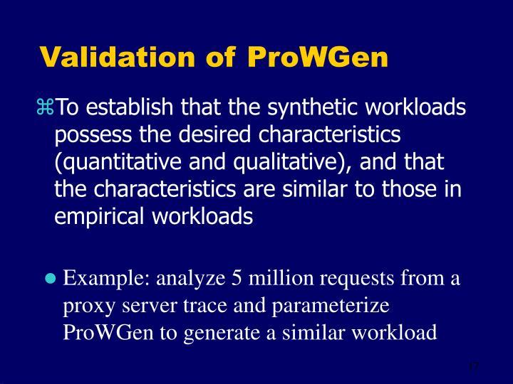 Validation of ProWGen