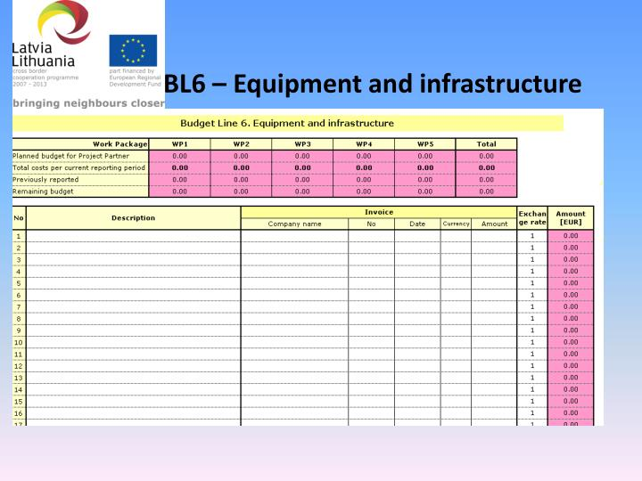 BL6 – Equipment and infrastructure