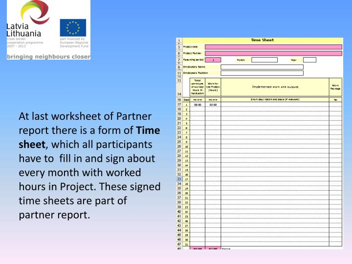 At last worksheet of Partner report there is a form of