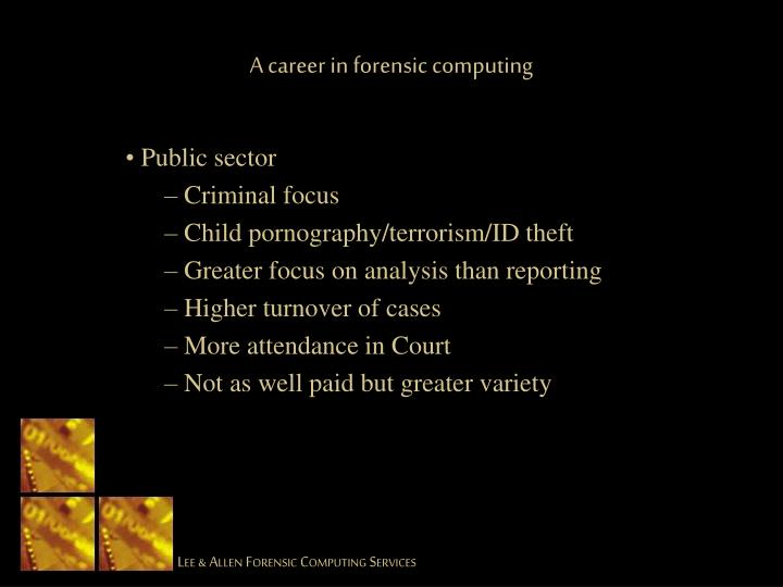 A career in forensic computing