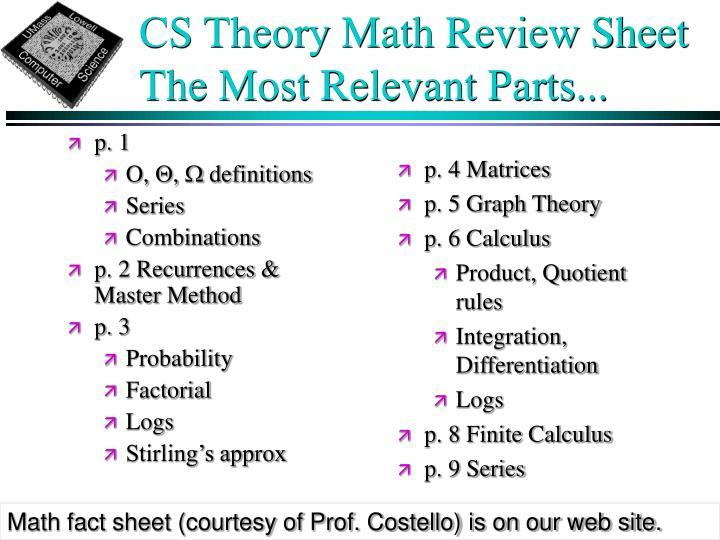 CS Theory Math Review Sheet