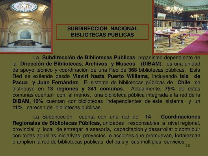 SUBDIRECCION  NACIONAL  BIBLIOTECAS PÚBLICAS