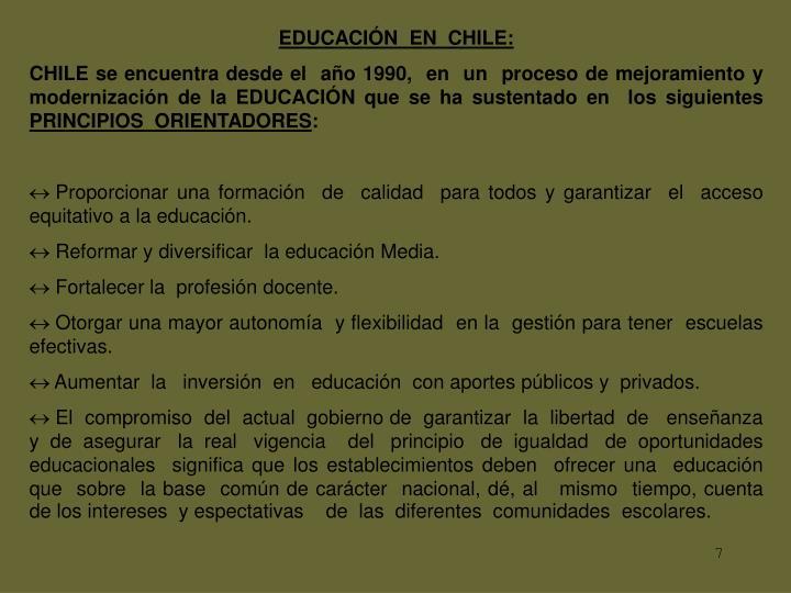 EDUCACIÓN  EN  CHILE: