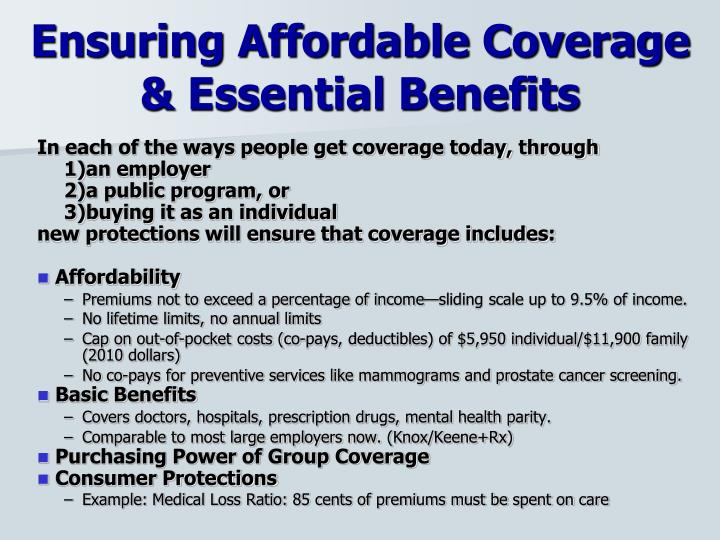 Ensuring Affordable Coverage