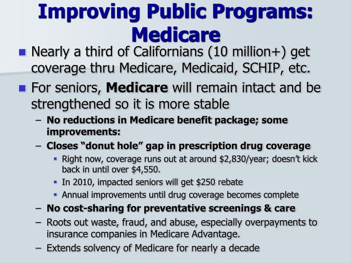 Improving Public Programs: Medicare