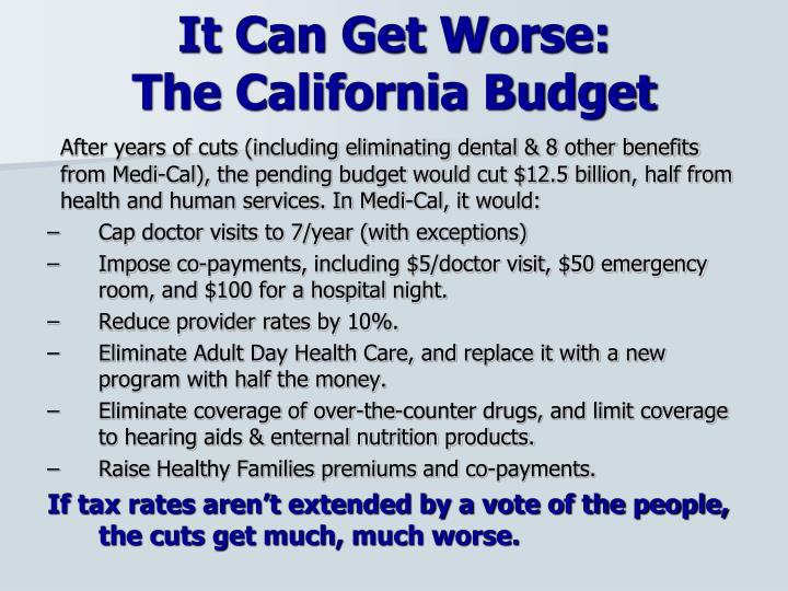 It can get worse the california budget