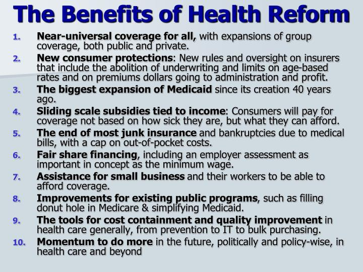 The Benefits of Health Reform