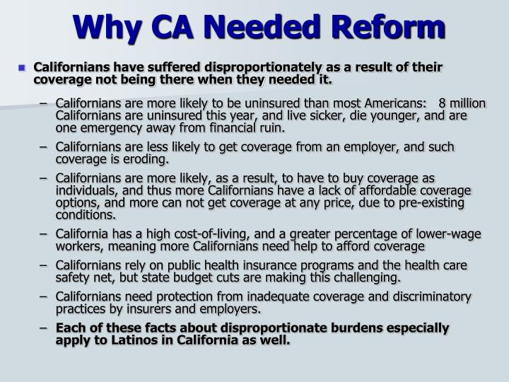 Why ca needed reform