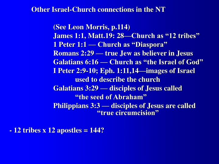 Other Israel-Church connections in the NT