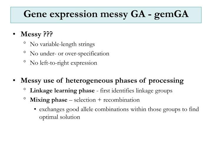 Gene expression messy GA - gemGA