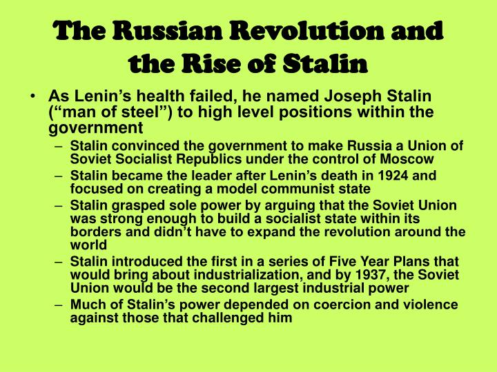 rise of stalin Joseph stalin: joseph stalin, secretary-general of the communist party of the soviet union (1922–53) and premier of the soviet state (1941–53), who for a quarter of a century dictatorially ruled the soviet union and transformed it into a major world power learn more about stalin in this article  rise to power.