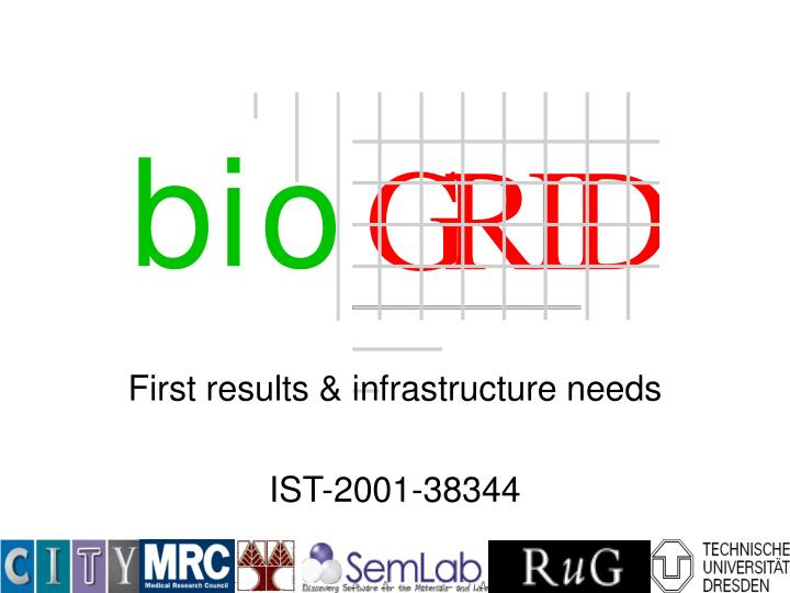 First results & infrastructure needs
