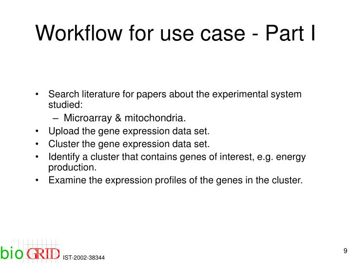 Workflow for use case - Part I