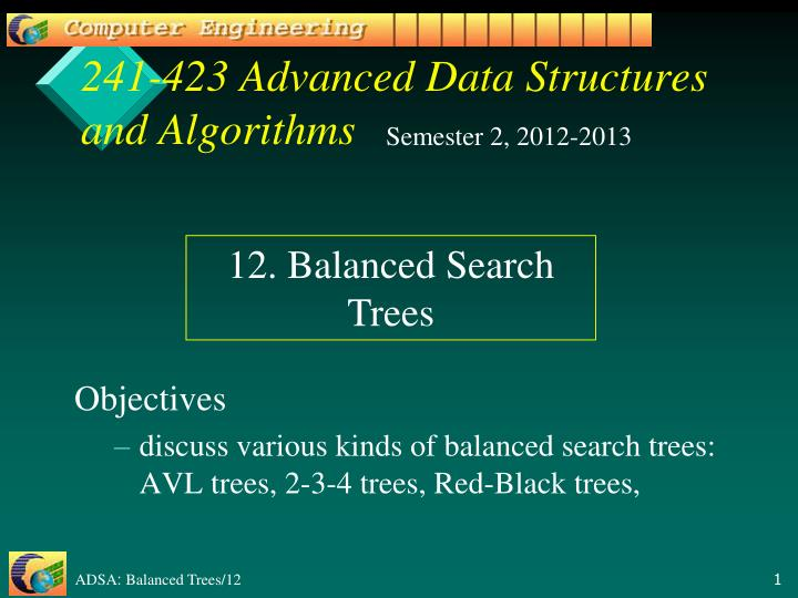 241 423 advanced data structures and algorithms n.