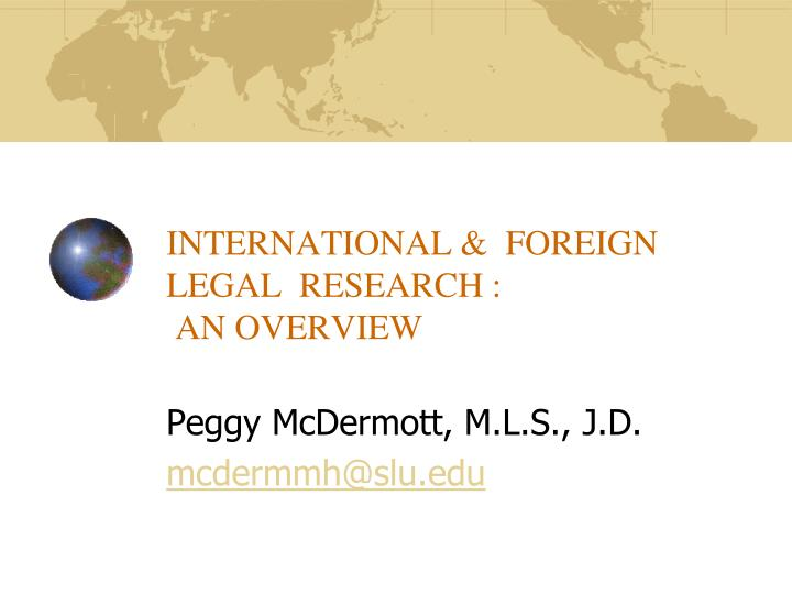 international foreign legal research an overview n.