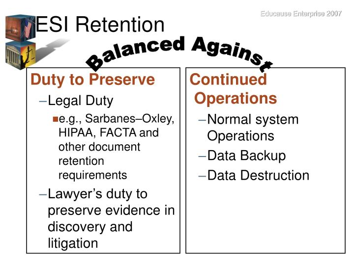 ESI Retention