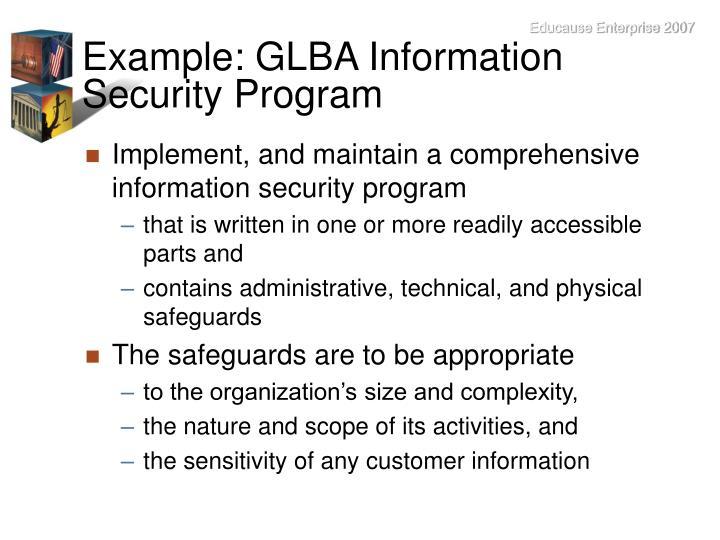 Example: GLBA Information Security Program